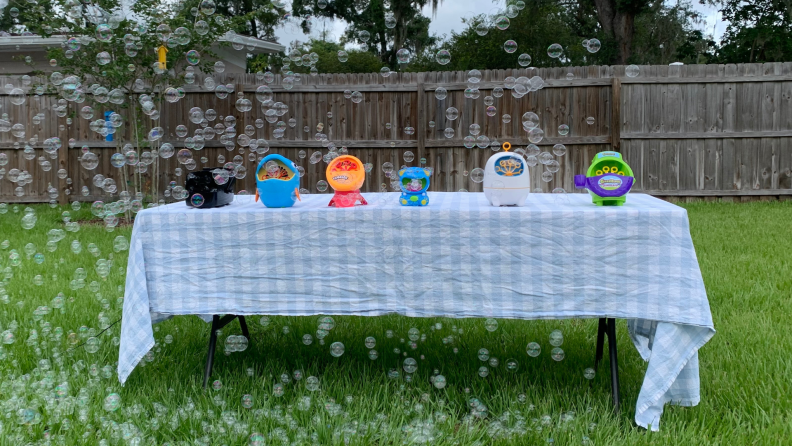 Bubble machines sitting on an outdoor table