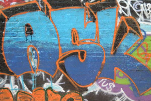 A sample photo of graffiti taken by the Nikon Coolpix P340.