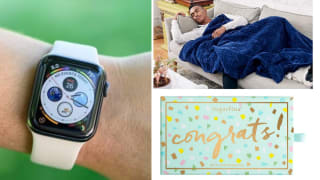 A watch, a blanket and a card.