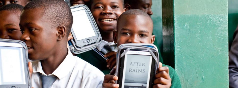 African students with ebooks sourced through Worldreader