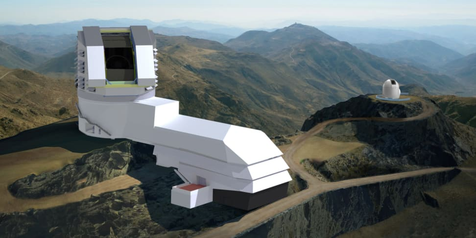A rendering of the Large Synoptic Survey Telescope, set to launch in 2022