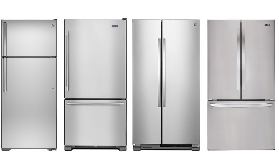 A line-up of four fridge types. From left to right, they are a top freezer, bottom freezer, side-by-side, and French door