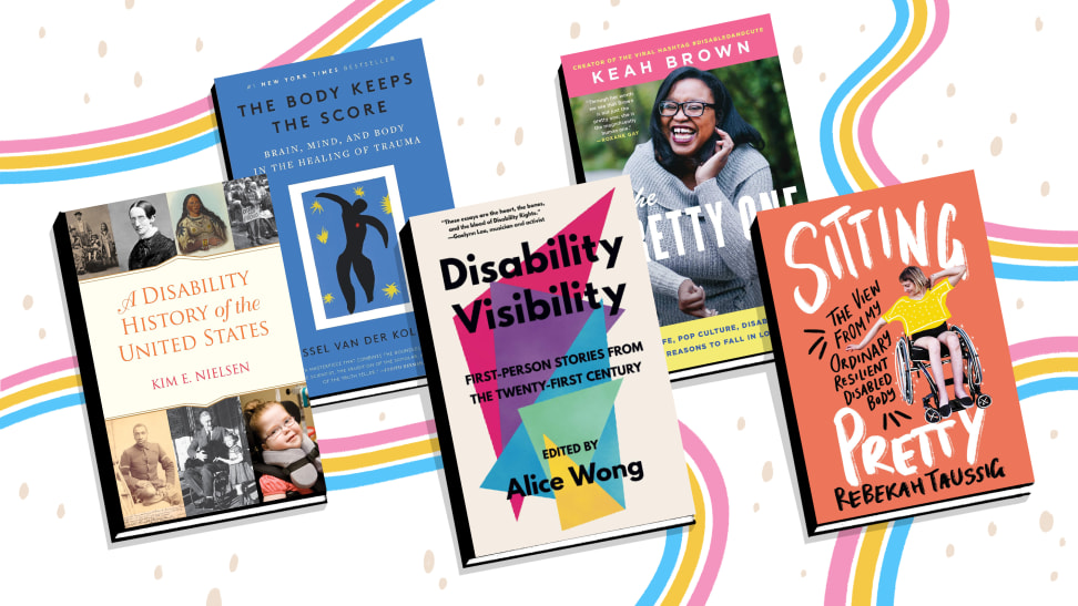 Five books on disability against colorful background