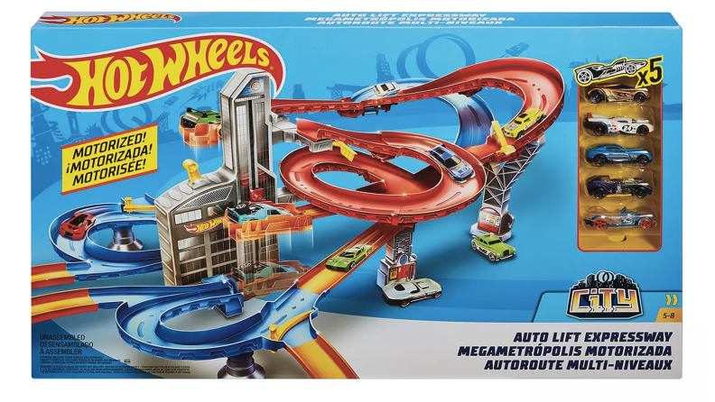 A Hot Wheels track with toy cars