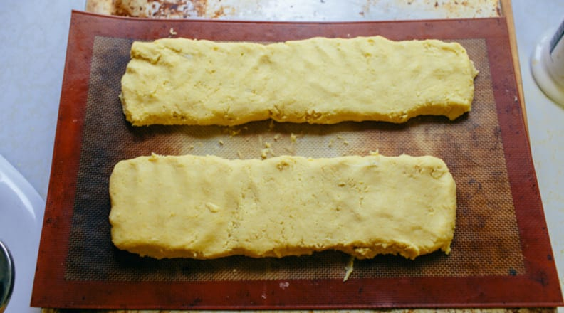 Biscotti on nonstick cooking mat