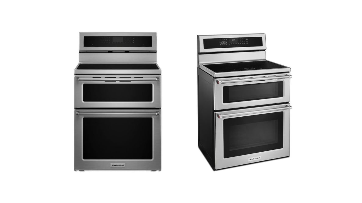 Side by side images of a KitchenAid double oven induction range on a white background.