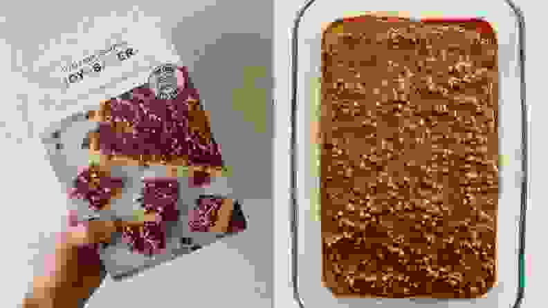 Left: A person holds a box of vanilla cake mix with praline frosting. Right: A top-down photo of a cake with praline frosting in a glass baking dish.