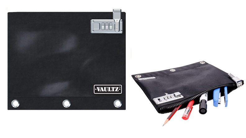 On the left, an image of the VAULTZ locker binder folder. On the right, and image of the binder folder with writing utensils coming out.