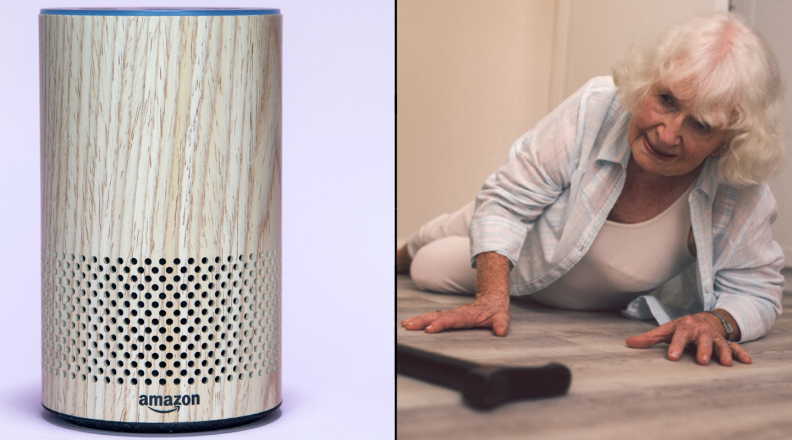 Amazon Echo and woman on the ground