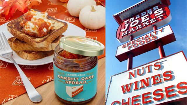 Trader Joe's Carrot Cake spread and signage