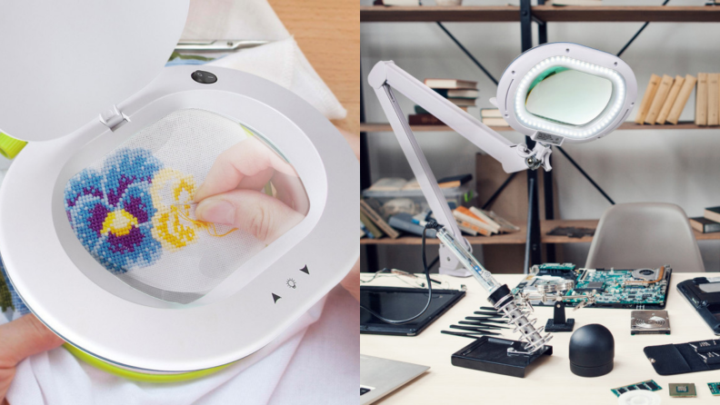 A magnifying reading lamp zooms in on embroidery.