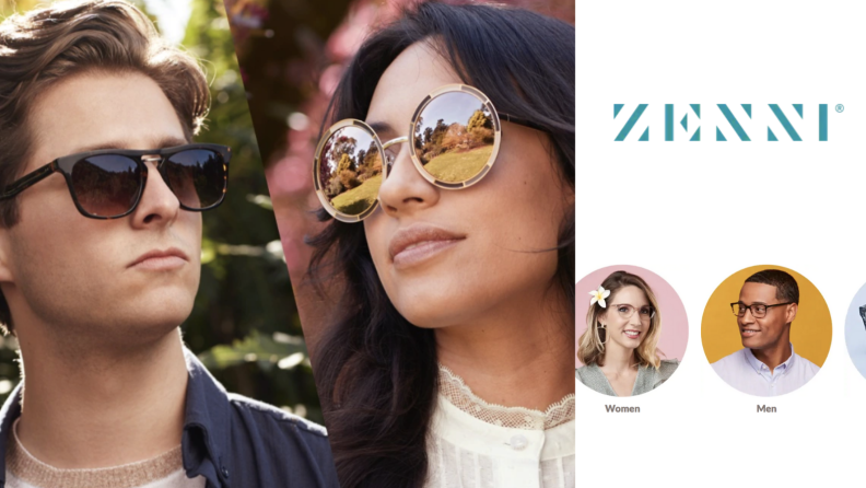 Two photos of people wearing sunglasses beside the Zenni logo and several pop up circles with more people wearing glasses within them.