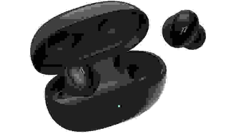 A pair of the 1MORE Colorbuds and charging case on a white background