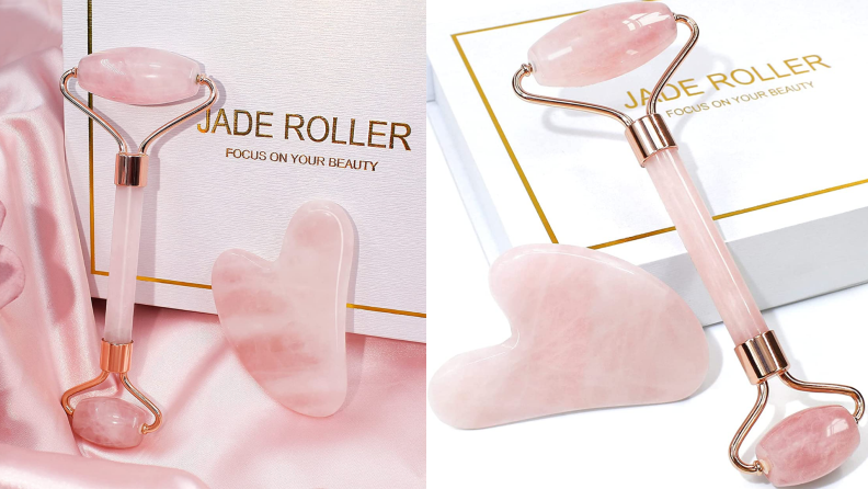 The jade roller and gua sha stone laying on top of the box that it comes in