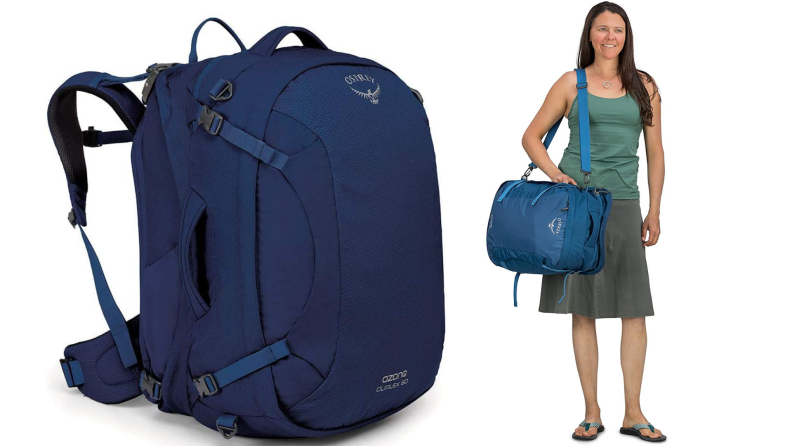 On left, navy blue backpack from Osprey Ozone 65. On left, woman carrying navy blue Osprey Ozone 65 backpack by strap.