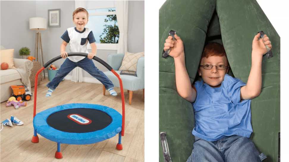 Little boy jumping on trampoline and a boy in an inflatable peapod