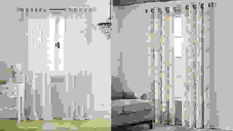 A split image of curtains from Bed Bath & Beyond, one of the best places to buy curtains online.