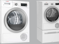 Matching washer and dryer set from Bosch in front of gray background.