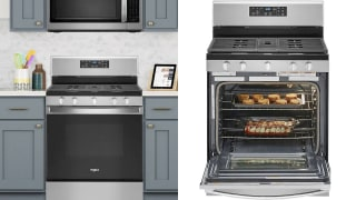 A close up look at the top of the range, which includes a five-burner cooktop and a gas convection oven. The front-control range has a display pad with touchscreen, as well as six knobs to adjust the temperature.