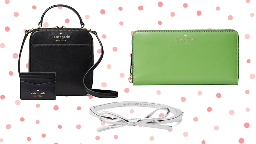 Black purse, lime green wallet, and silver bracelet against a white background with pink polka dots