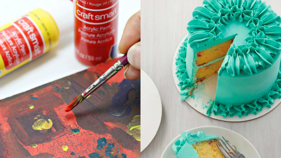 Image of person painting next to a cake with green icing