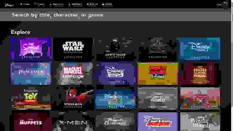 The menu of Disney+.