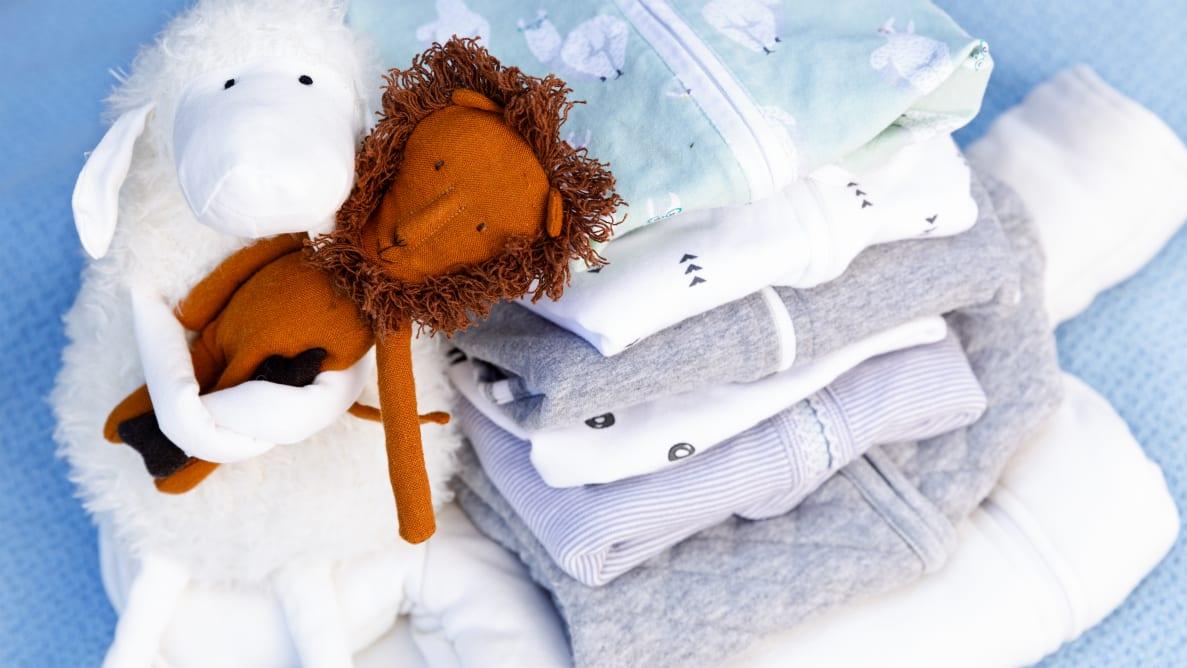 Stack of baby sleep sacks