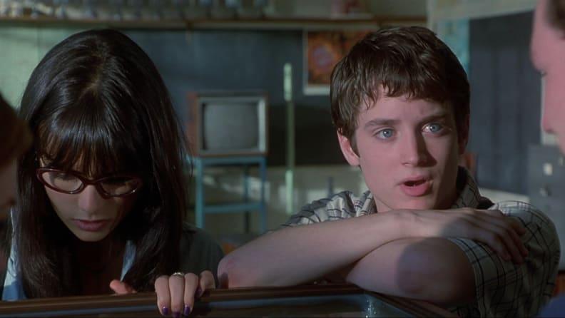 Elijah Wood and Jordana Brewster battle aliens in 'The Faculty.'