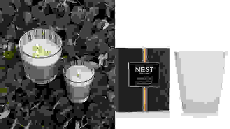 A split image of candles from Nest Candles, one of the best places to buy candles online.