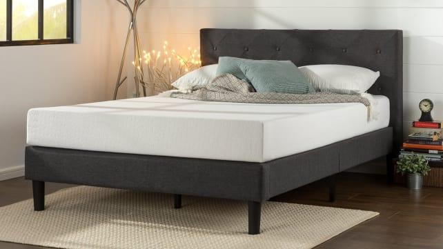 Zinus Upholstered Diamond Stitched Platform Bed