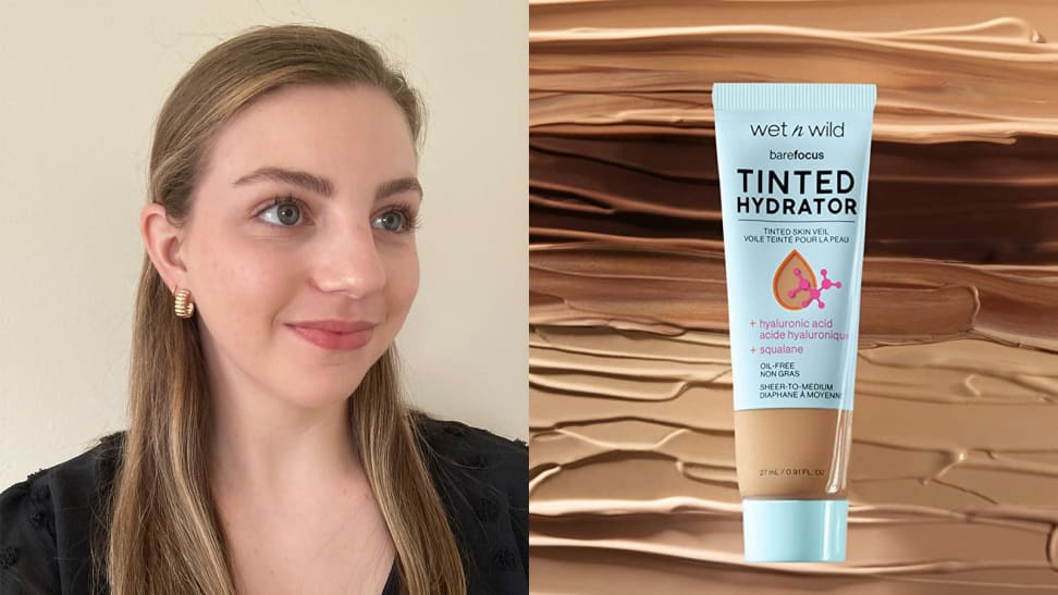 On the left: The author looking away from the camera and smiling while wearing makeup on her skin. On the right: The Wet n Wild Tinted Hydrator Tinted Skin Veil in its tube with swatches of the moisturizer in different skin tones behind it.