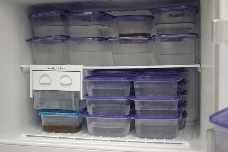 Temperature data loggers in the freezer replace two tupperware containers half filled with water.