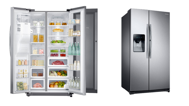 Two images of the same Samsung fridge, one with all doors open and food inside and the other with all doors closed at a side angle.