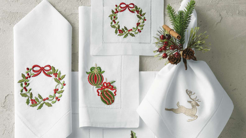 You can choose from two napkin sizes and a variety of embroidered patterns.
