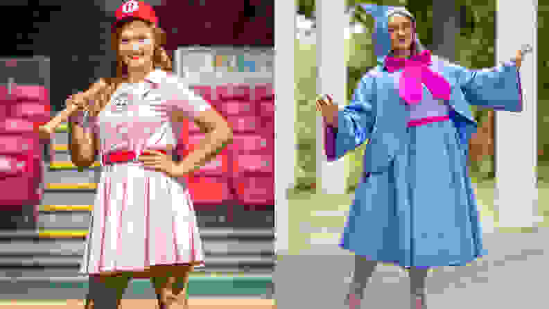 A woman wearing a baseball costume on the left and a person wearing a fairy godmother outfit on the right