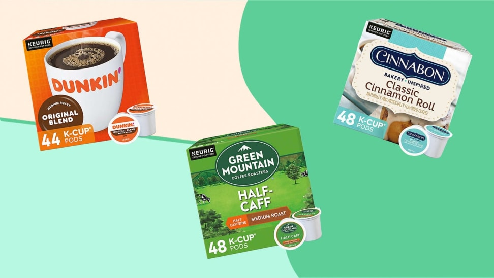 Boxes of K-cup coffee in front of green background.