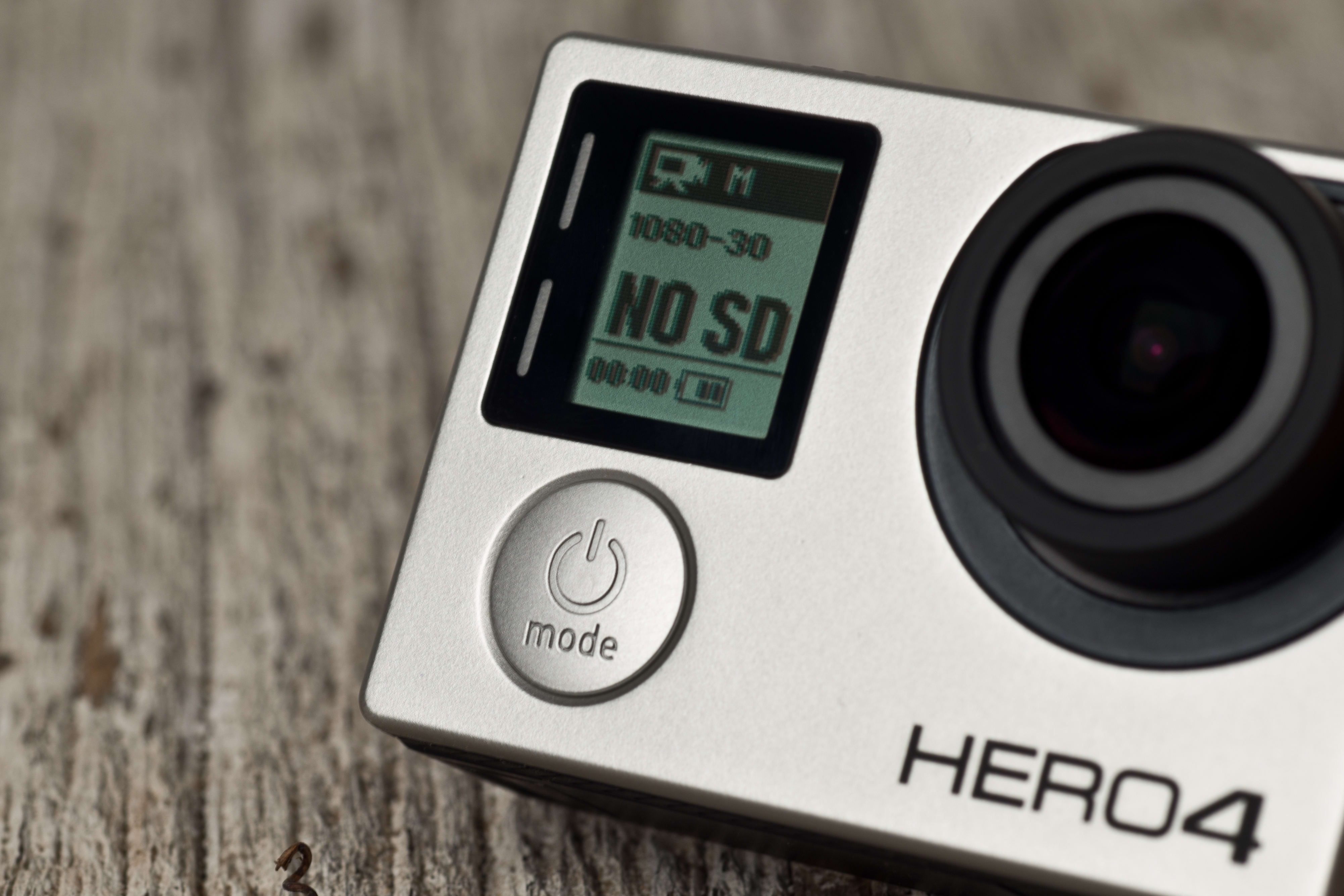 A photograph of the GoPro Hero 4 Black's power button.