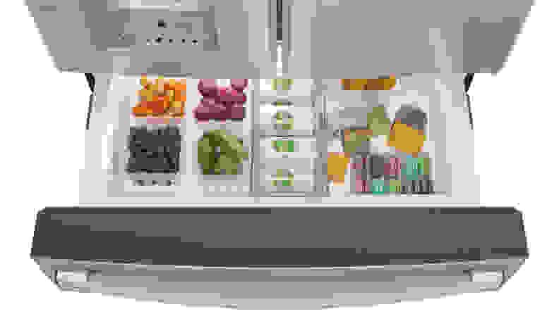 GE Profile PVD28BYNFS four door French door refrigerator—flex drawer