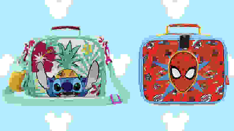 spider max lunch box and lilo and stitch lunchbox on blue disney background