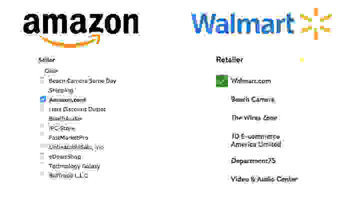 Amazon and Walmart Seller Filters
