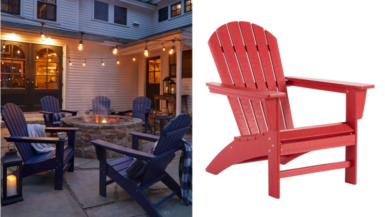 Adirondack chairs around a fire,next to a red Adirondack chair