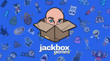 Drawing of Jack's head in a box on a blue background