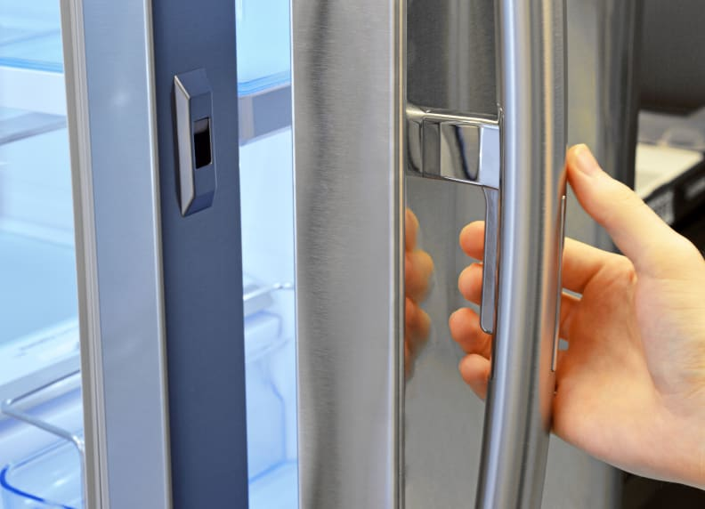 Simply press the trigger when pulling on the handle to open just the Samsung RF30HBEDBSR's door-in-door compartment.