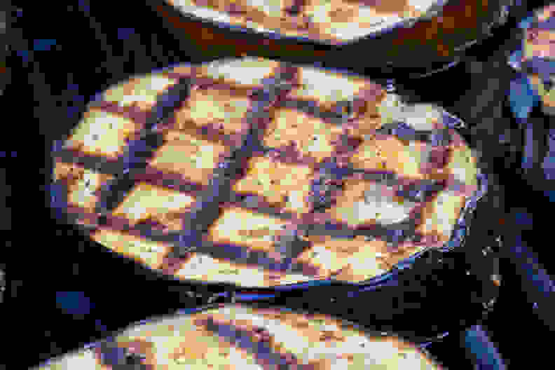 Preheated grill with food