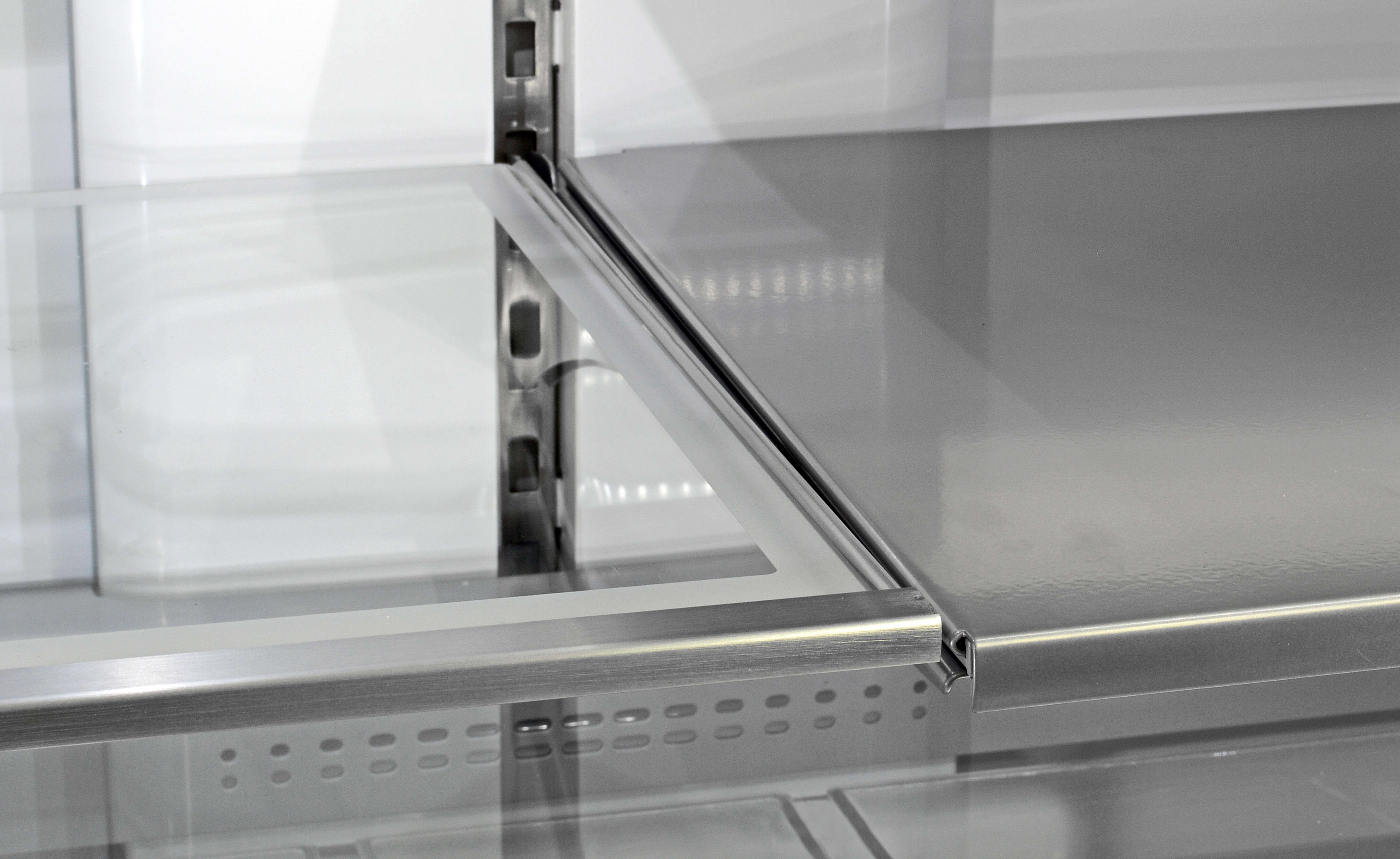 Stainless steel shelves give the Maytag MFX2876DRM's interior a unique look.
