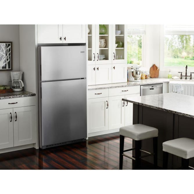 A top-freezer Maytag fridge fits in small spaces.