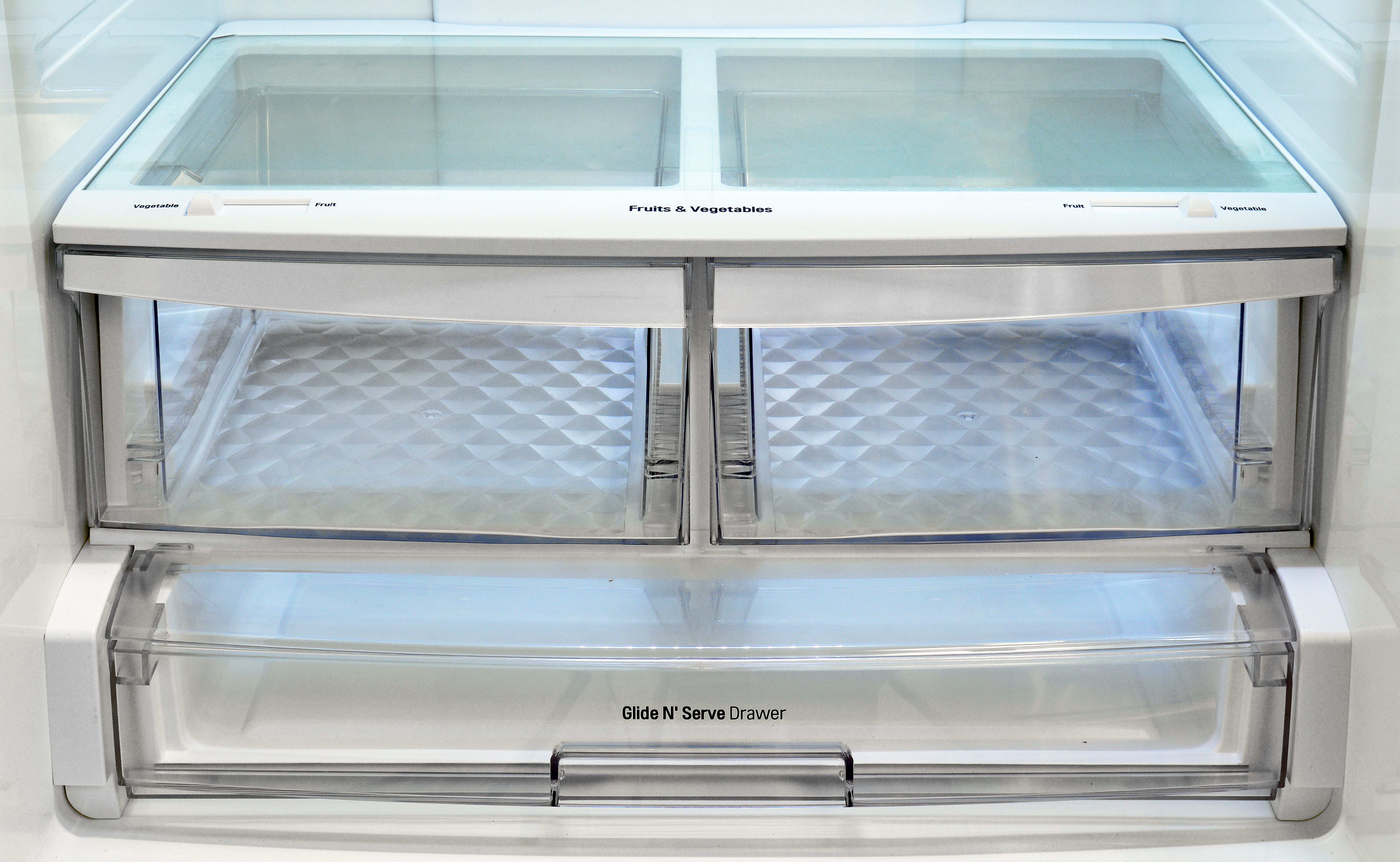 The LG LDC24370ST's crispers slide open with ease, but aren't great at retaining moisture.