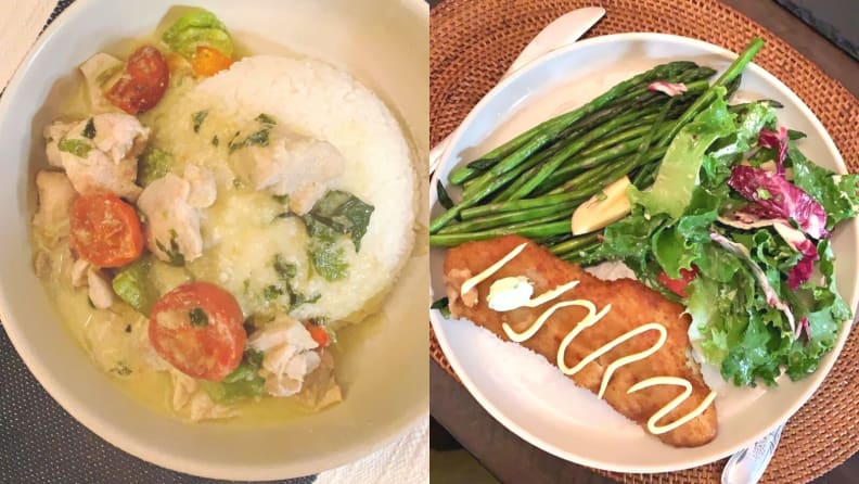 Thai green curry chicken and battered cod fillet