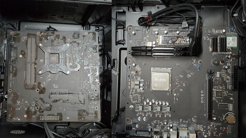Left: shot of the back of the motherboard. Right: shot of the right of the motherboard.