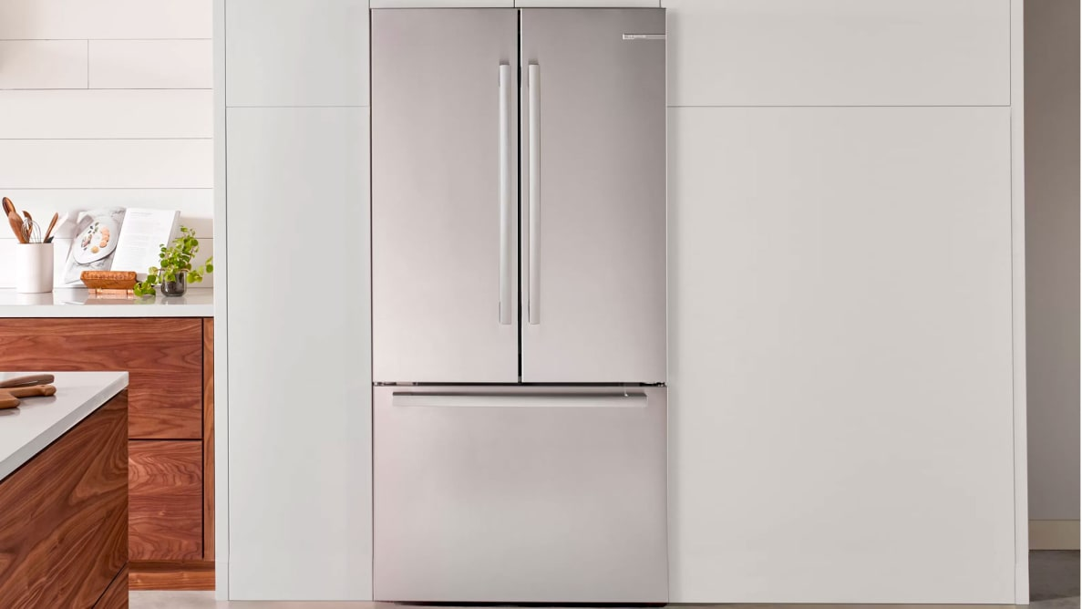 A vanity shot of the Bosch B36CT80SNS French-door refrigerator installed in an upscale kitchen.